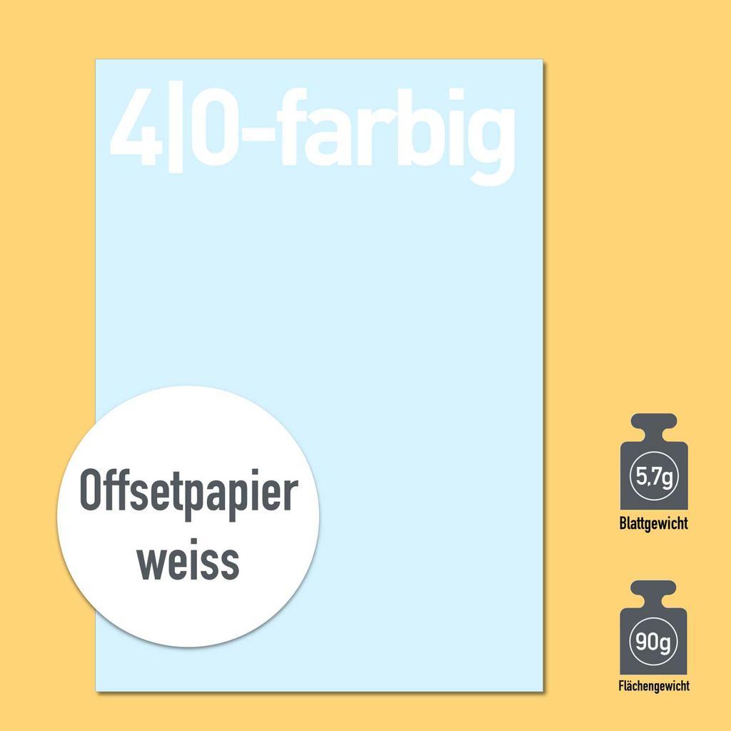 Briefbogen 4/0-farbig mit Papier 80g oder 90g