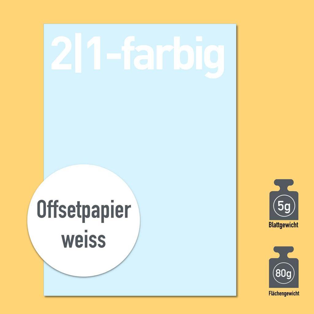 Briefbogen 2/1-farbig mit Papier 80g oder 90g