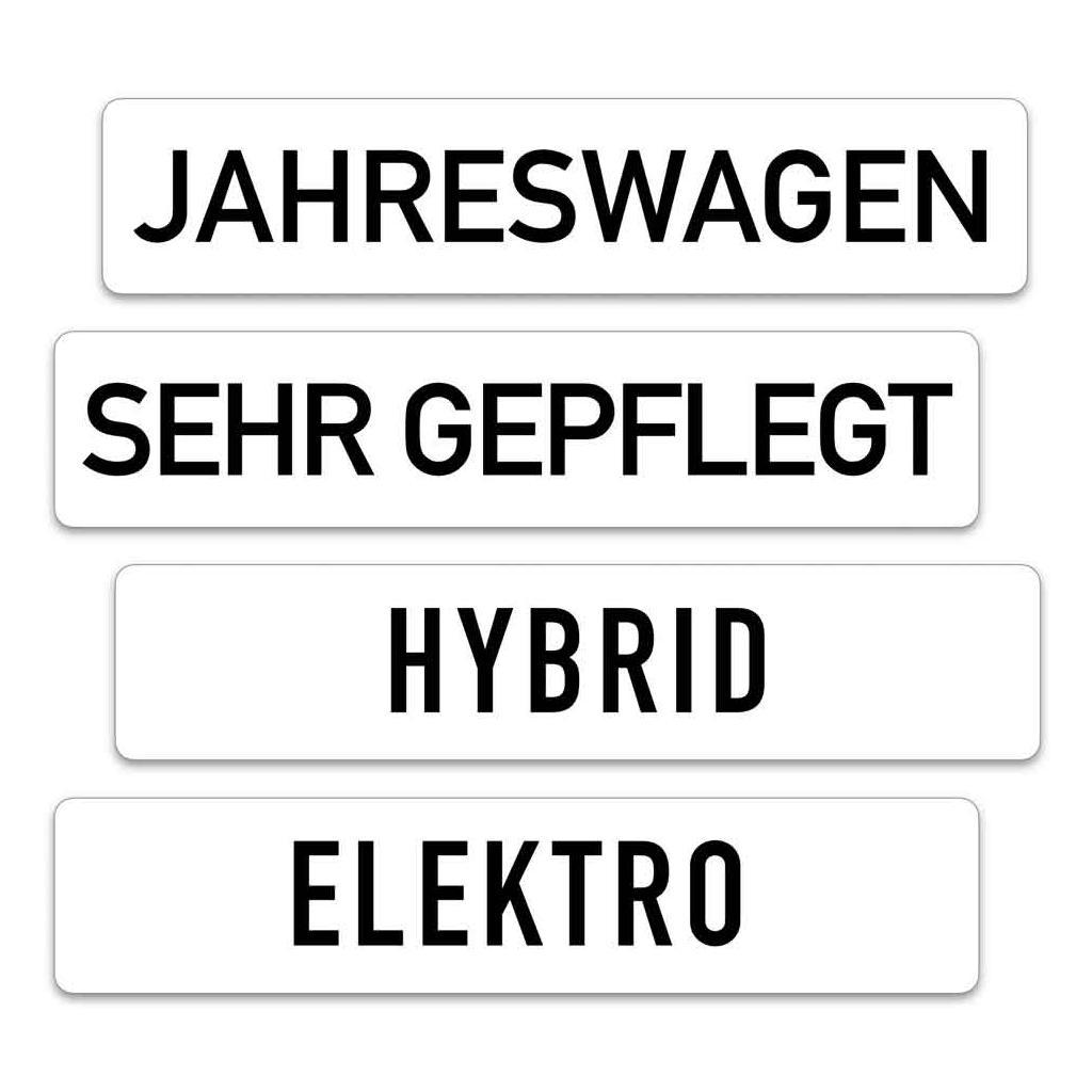 Kennzeichen-Werbeschilder - mit verschiedenen Texten