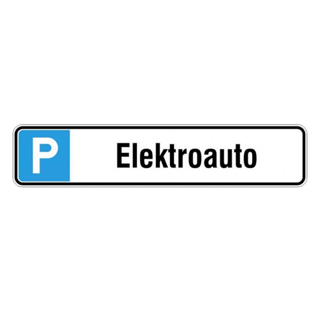 Parkplatzschild Symbol: P, Text: Elektroauto - Aluminium geprägt
