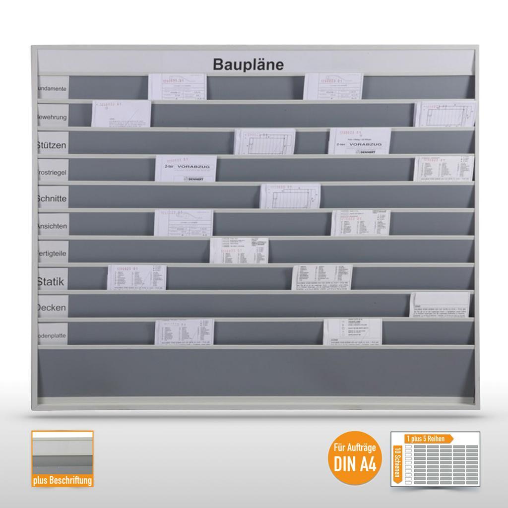 """Planungstafel groß - 50 x DIN A4 - mit Beschriftung """"Baupläne"""""""