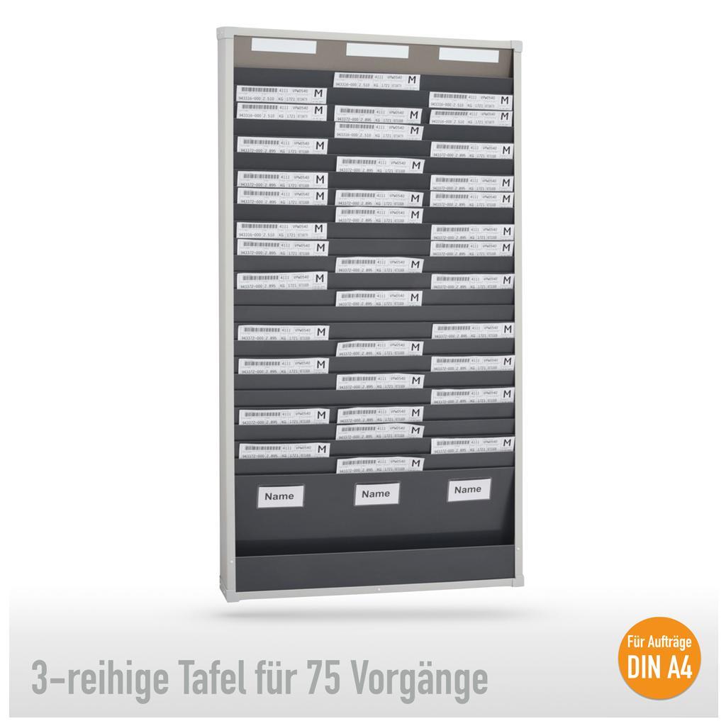 Sortiertafel 3-reihig für (75 x DIN A4 Belege), Höhe 1350 mm
