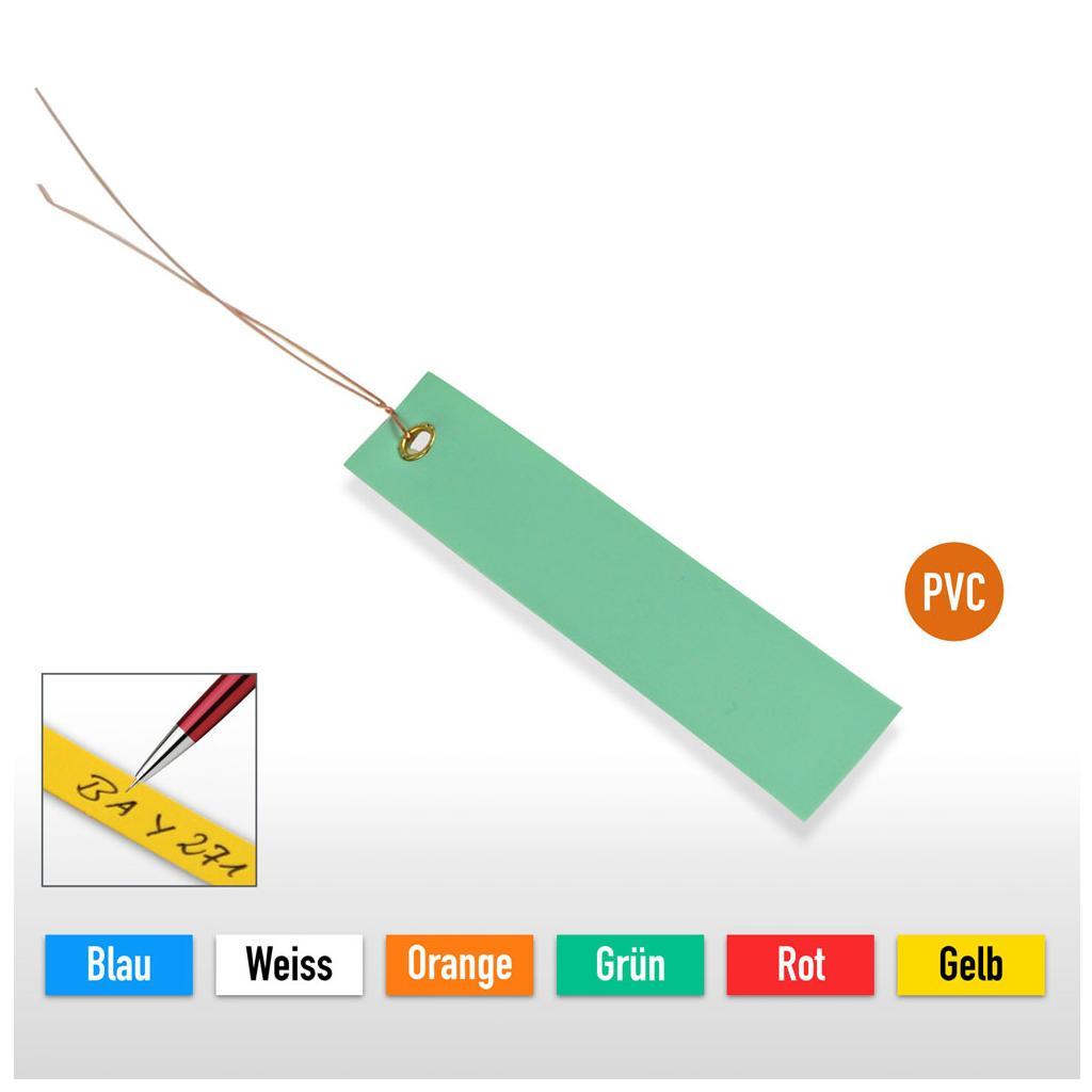 PVC-Hänge-Etiketten mit Draht - Größe 100 x 18 mm (VE = 250 Stck.)