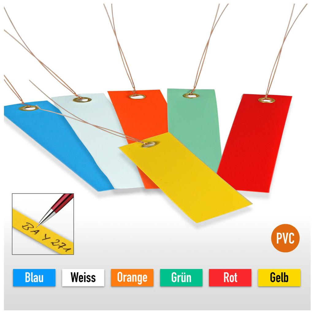 PVC-Hänge-Etiketten mit Draht - Format 120 x 50 mm (VE = 100)
