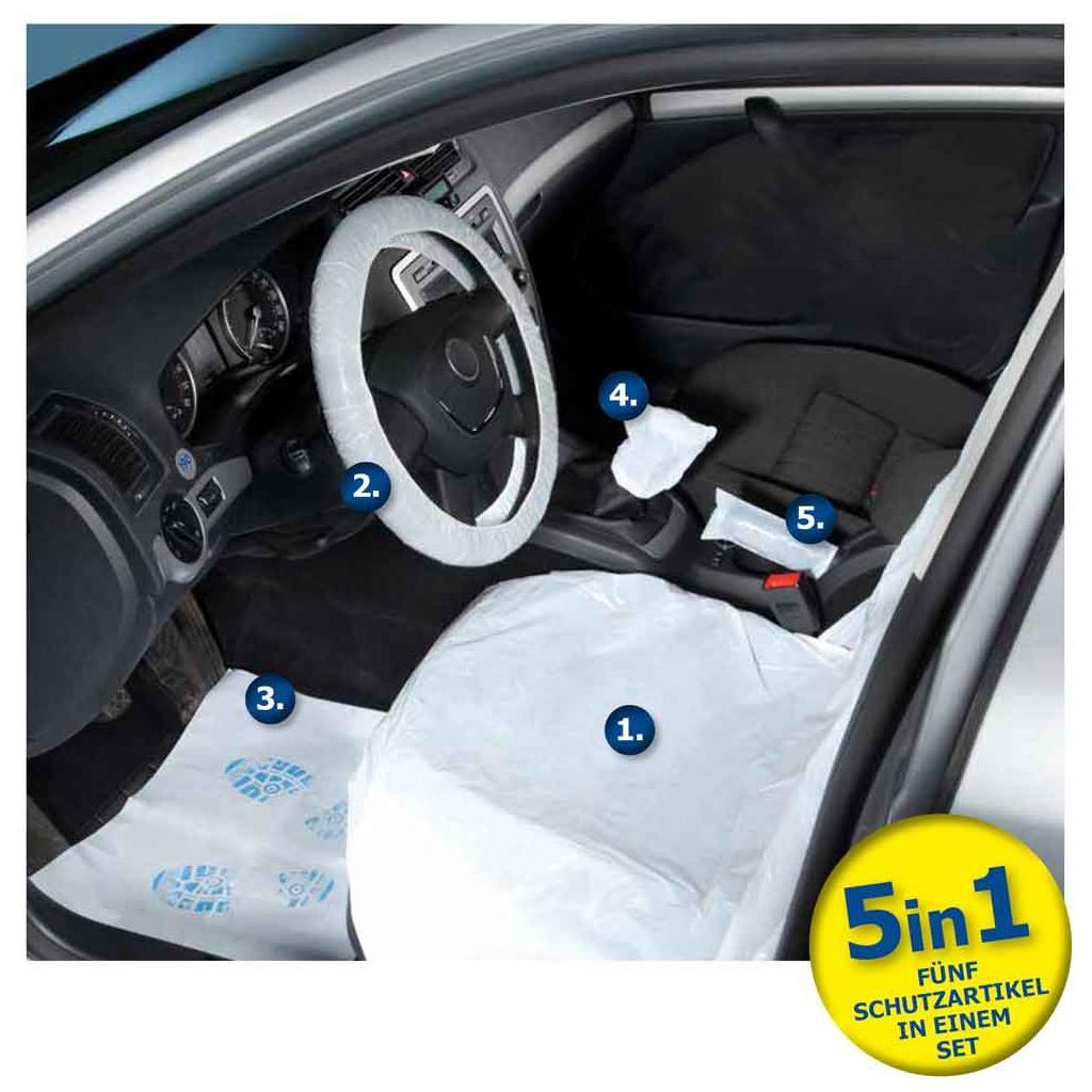 Einweg-Fahrzeugschutz-Artikel Set für PKW, CLEAN SET - 5 in 1
