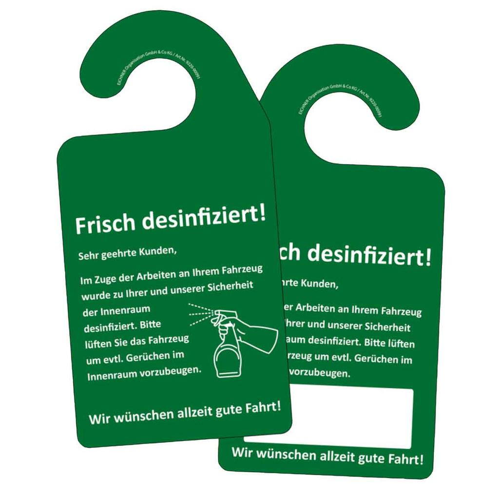 """Hinweis-Spiegelanhänger - """"Frisch desinfiziert!"""""""