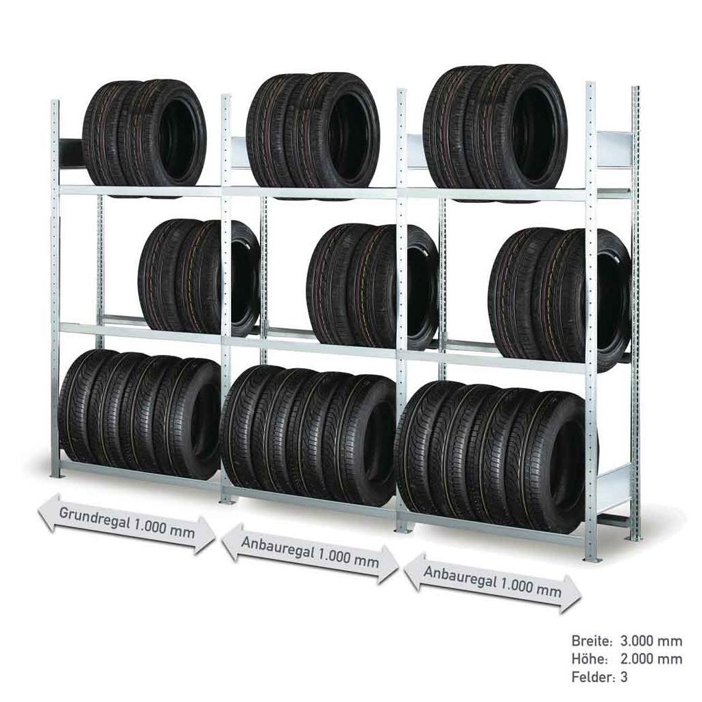Räderregal - Komplettangebot - 3 Felder mit je 3 Lagerebenen