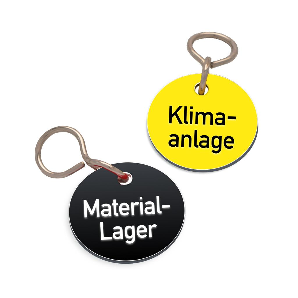 Textmarken aus Kunststoff mit 2-zeiliger Gravur, mit S-Haken