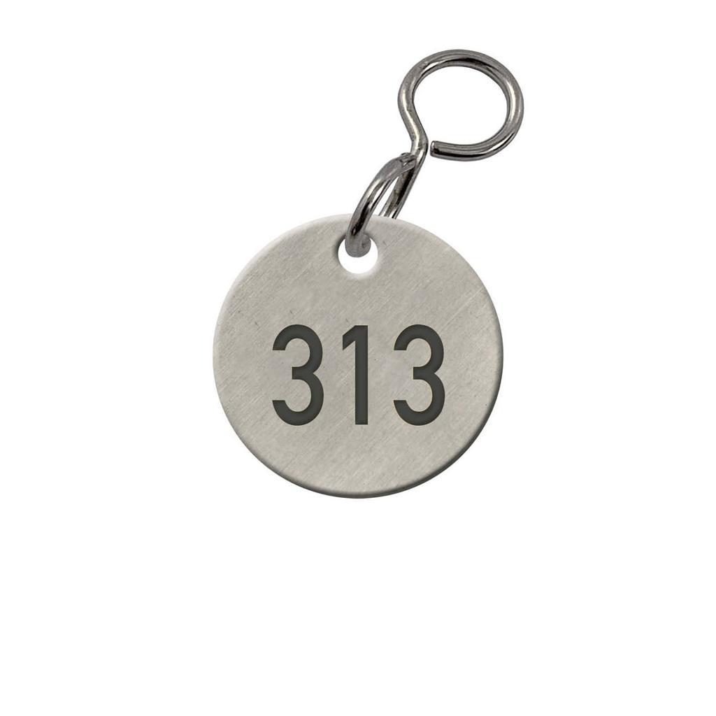 Kennzeichnungs-Marken - Leichtmetall roh - 1-3 stellige Zahlengravur - mit S-Haken