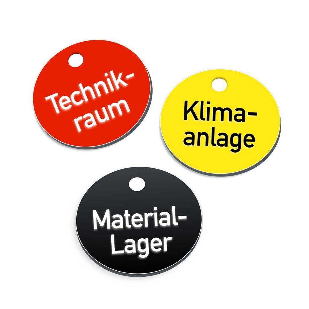 Textmarken aus Kunststoff mit 2-zeiliger Gravur, ohne S-Haken