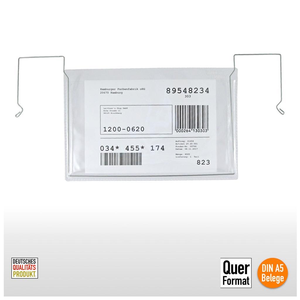 Drahtbügel-Sichttaschen - ohne Klappe - verschiedene Hoch- und Querformate
