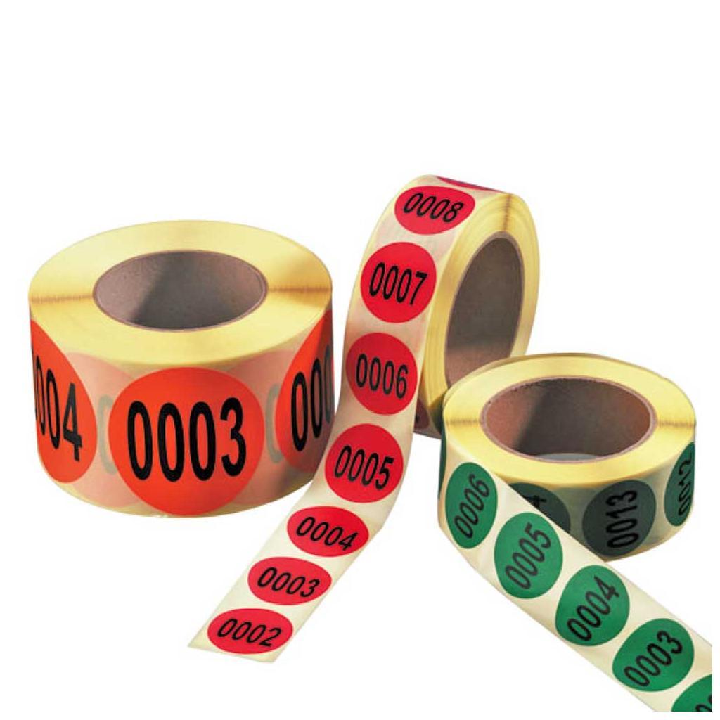 Nummerierte Etiketten - auf Rolle - fortlaufend 1-1000