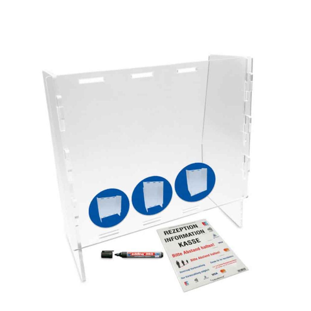 Mobile Acrylglasscheibe - Intelligentes Stecksystem - mit Durchreiche