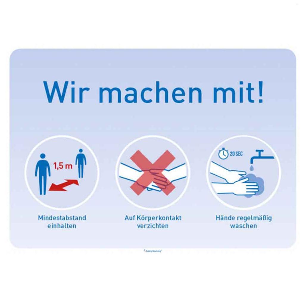 """Hinweisschild Infektionsschutz - """"Wir machen mit!"""" - in 2 Motiven"""
