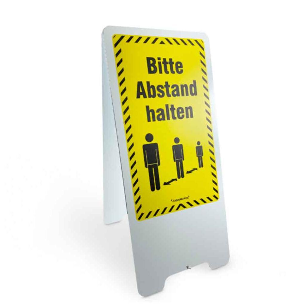 Warnaufsteller - 2-seitige Beschriftung - Bitte Abstand halten! - Aluminium