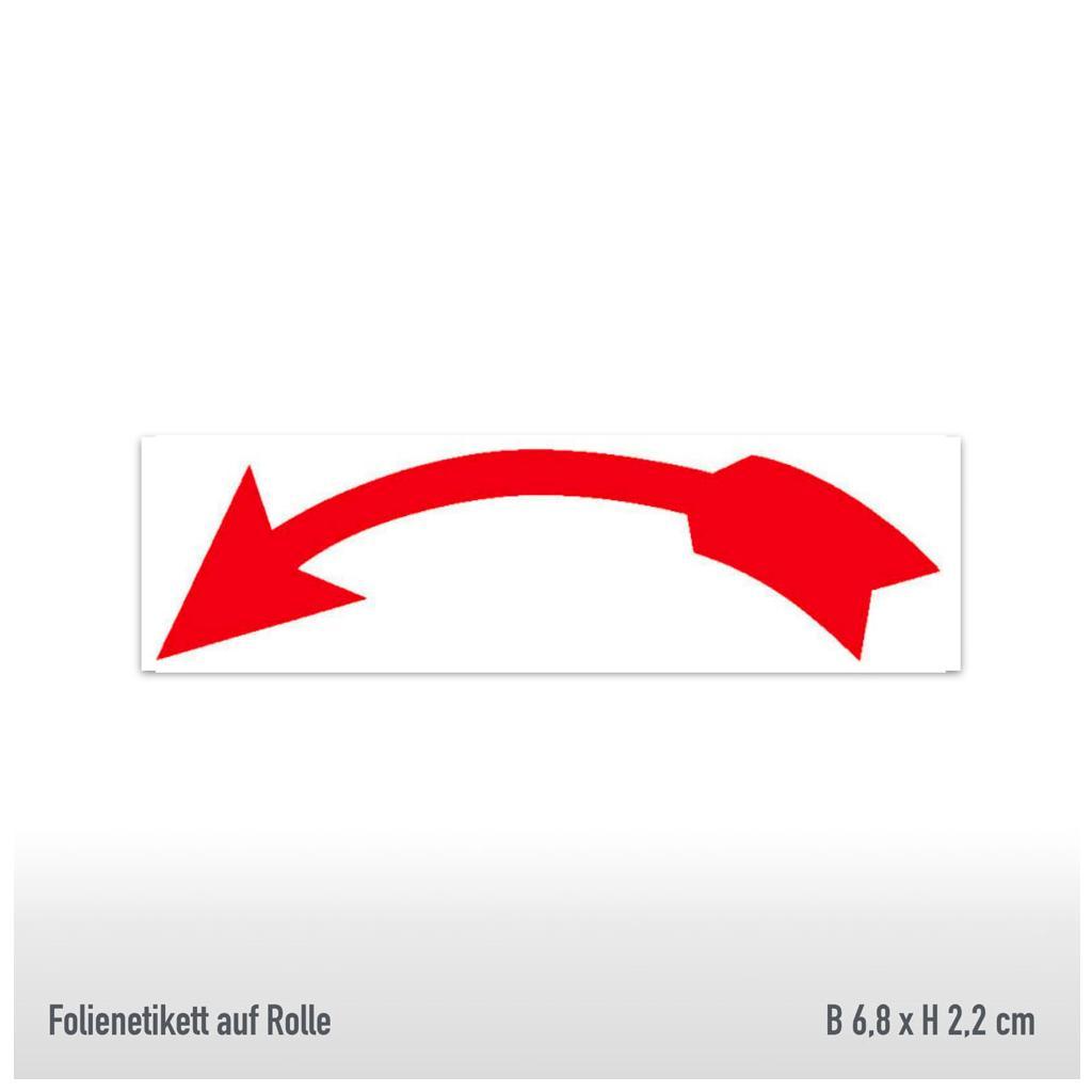 Drehrichtungspfeile - Ausführung: gebogen linksweisend, rot, abriebfest