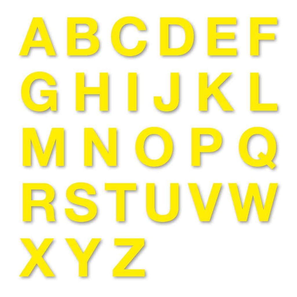 Stanzbuchstaben Großbuchstaben A-Z - Folie Gelb - Höhe 25-100 mm