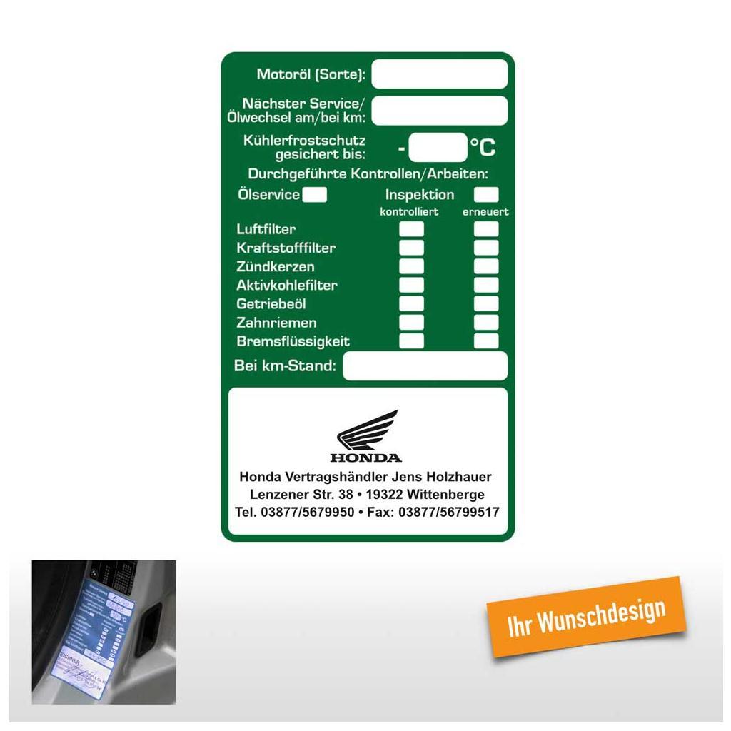 """Service-Checkliste"""" , 60 x 100 mm, mit Wunschdesign"""