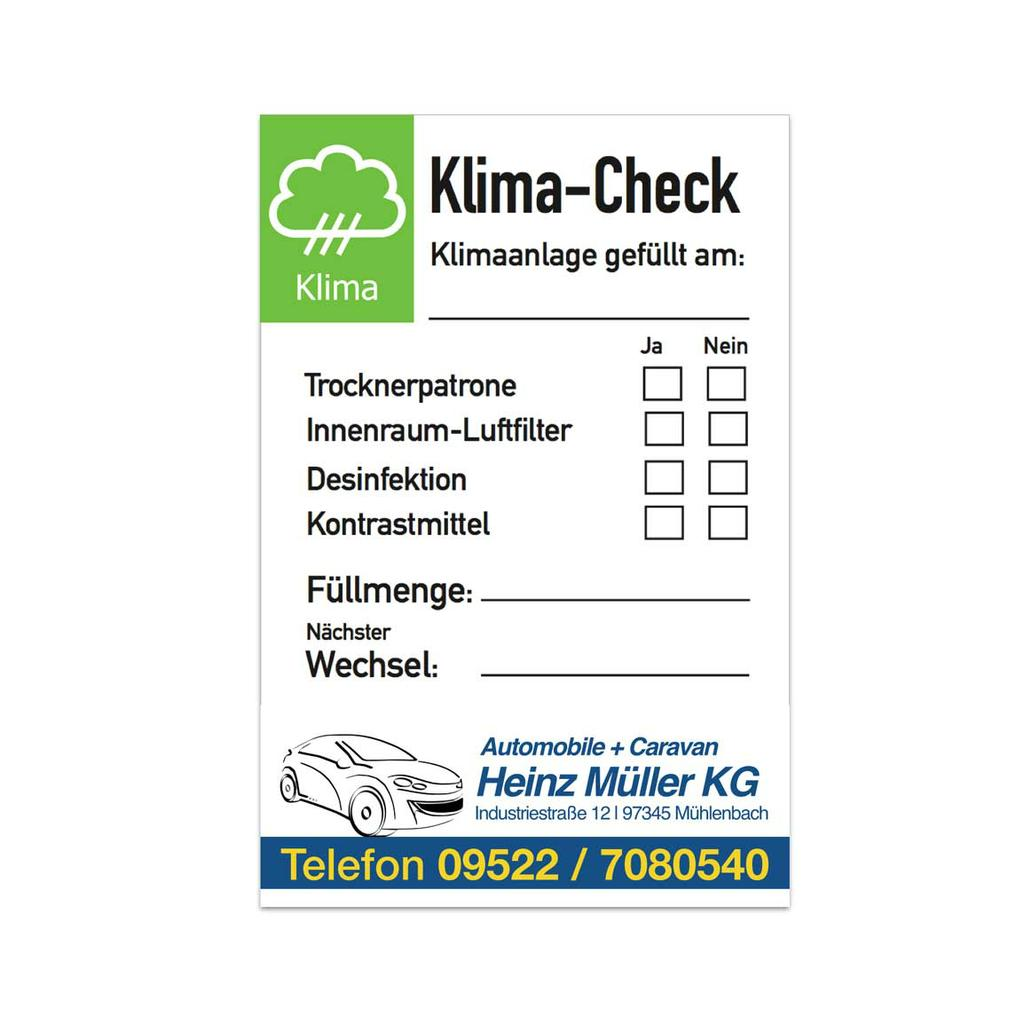 """Service-Aufkleber """"Klima-Check"""" mit Firmeneindruck"""