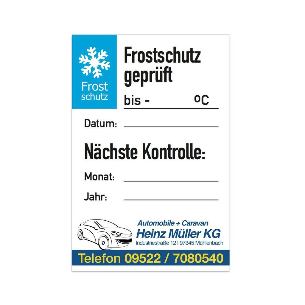 """Service-Aufkleber - """"Frostschutz geprüft"""" - mit Firmeneindruck"""