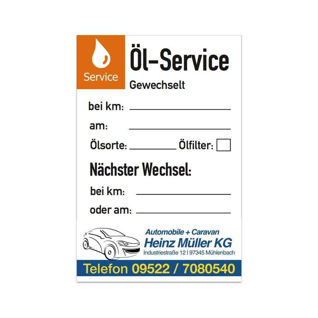 """Service-Aufkleber - """"Öl-Service"""" - mit Firmeneindruck"""