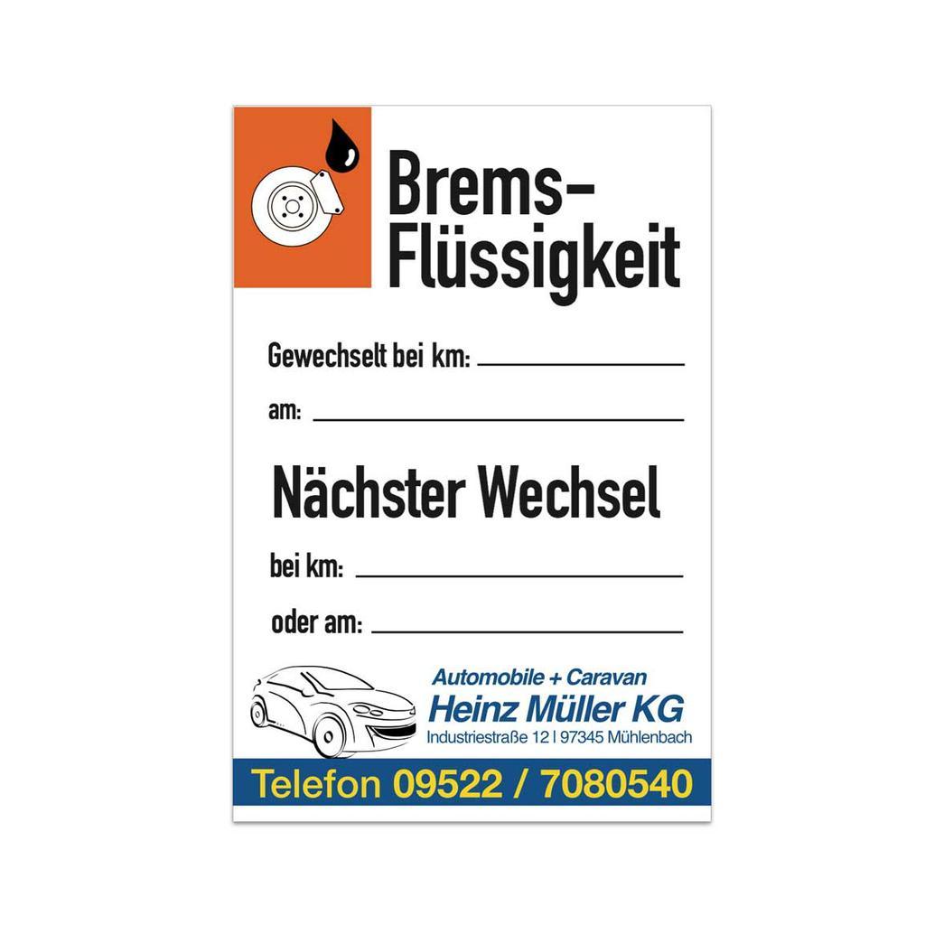 """Service-Aufkleber - """"Brems-Flüssigkeit"""" - mit Firmeneindruck"""