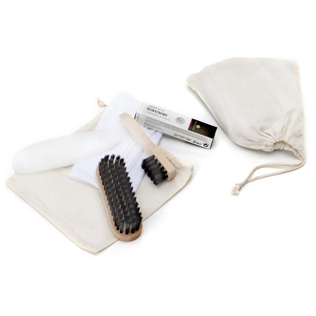 Schuhpflege-Set im Baumwollbeutel, mit Aufdruck