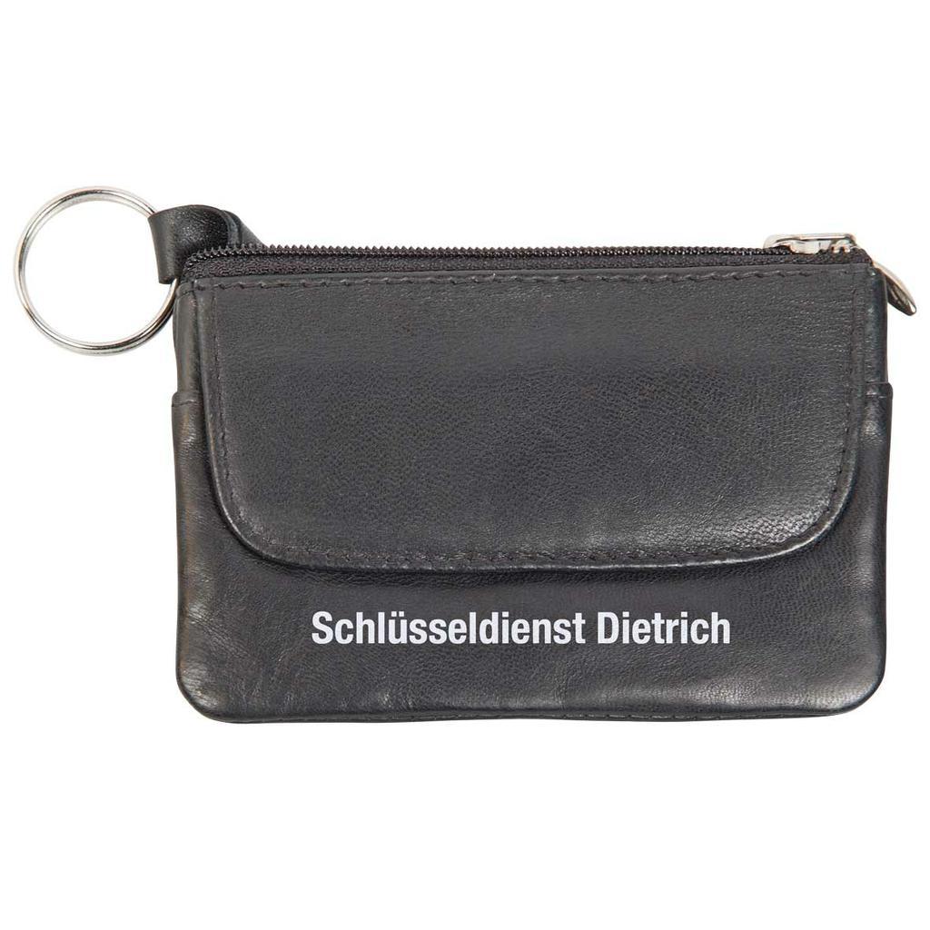Leder Schlüsseltasche schwarz mit Kleingeldfach