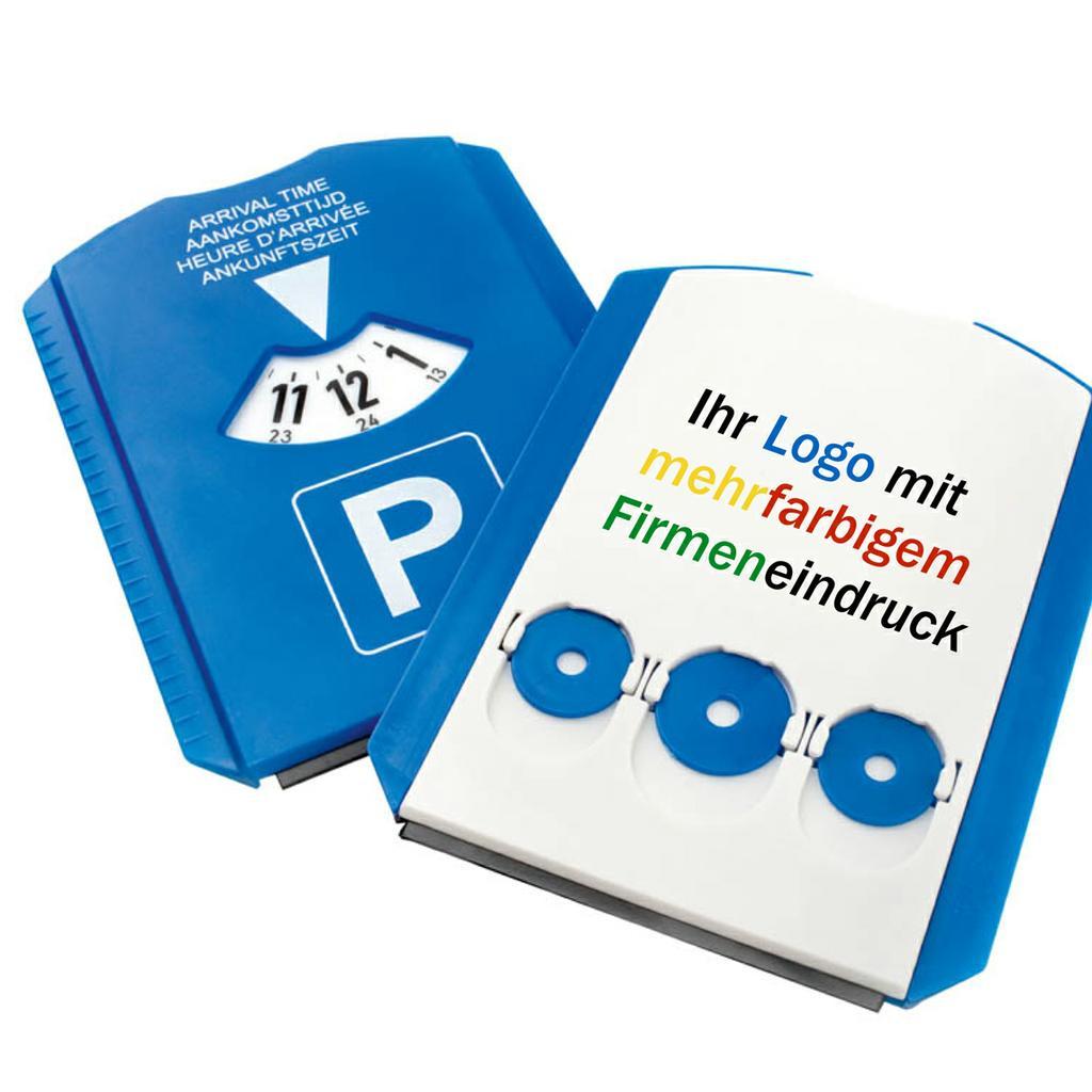 Hartkunststoff-Parkscheibe mit 3 EK-Chips, farbiger Digitaldruck