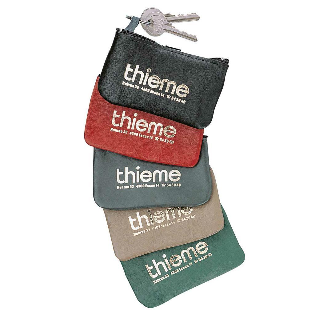 Lederschlüsseltasche - Nylonreißverschluss - Bunt