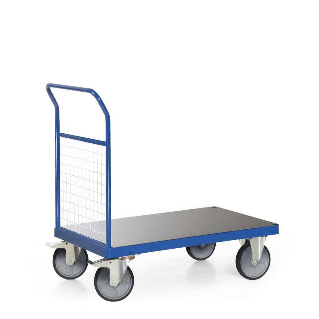 Plattformwagen - 1 Stirnwand aus Gitter - Traglast 600 kg - Ladefläche 1000 x 600 mm