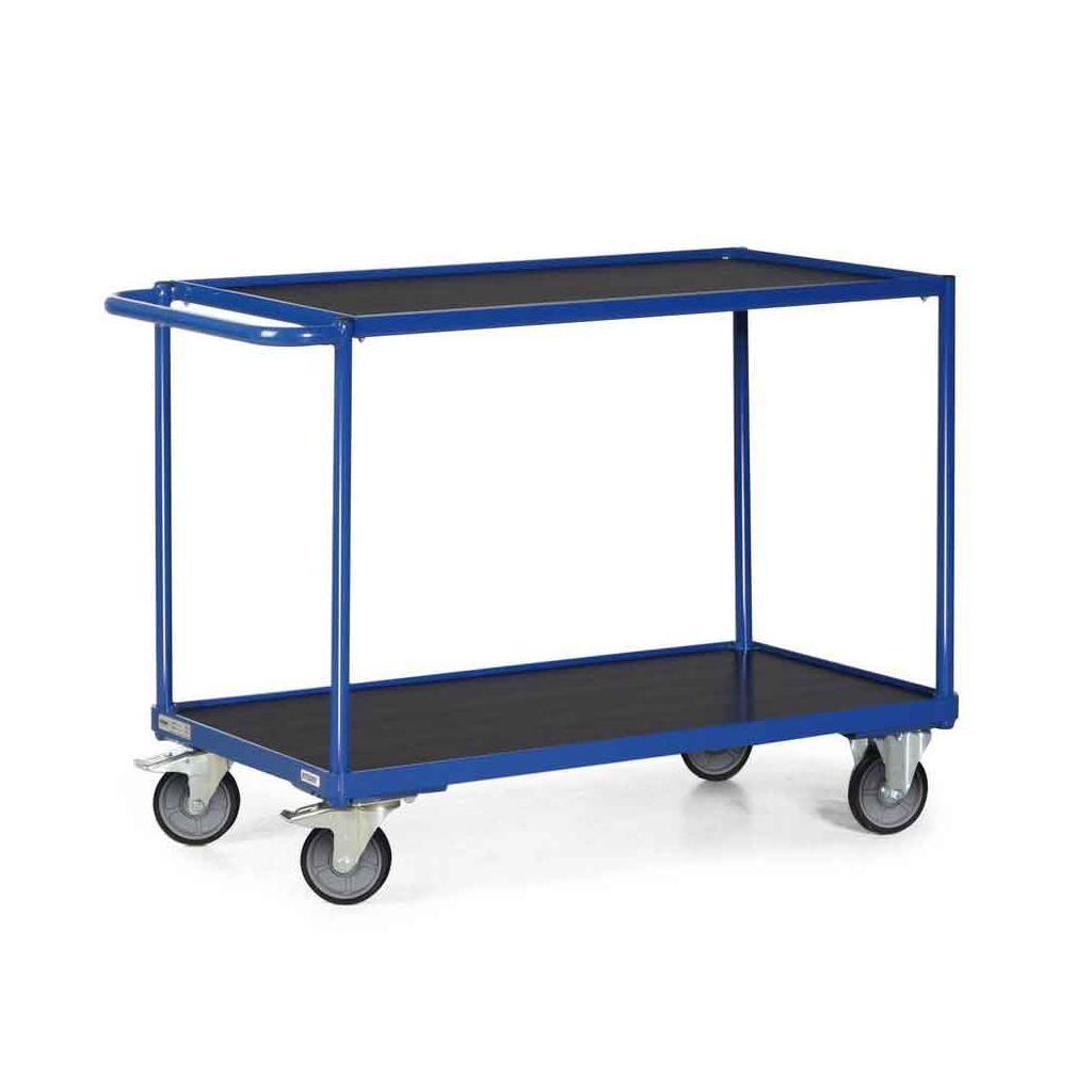 Tischwagen mit 2 Ladeflächen (850 x 500 mm) - Schiebegriff