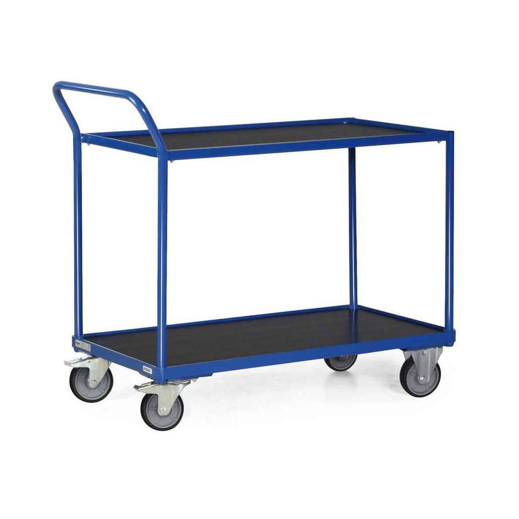 Tischwagen mit 2 Ladeflächen (1000 x 600 mm) - Schiebebügel