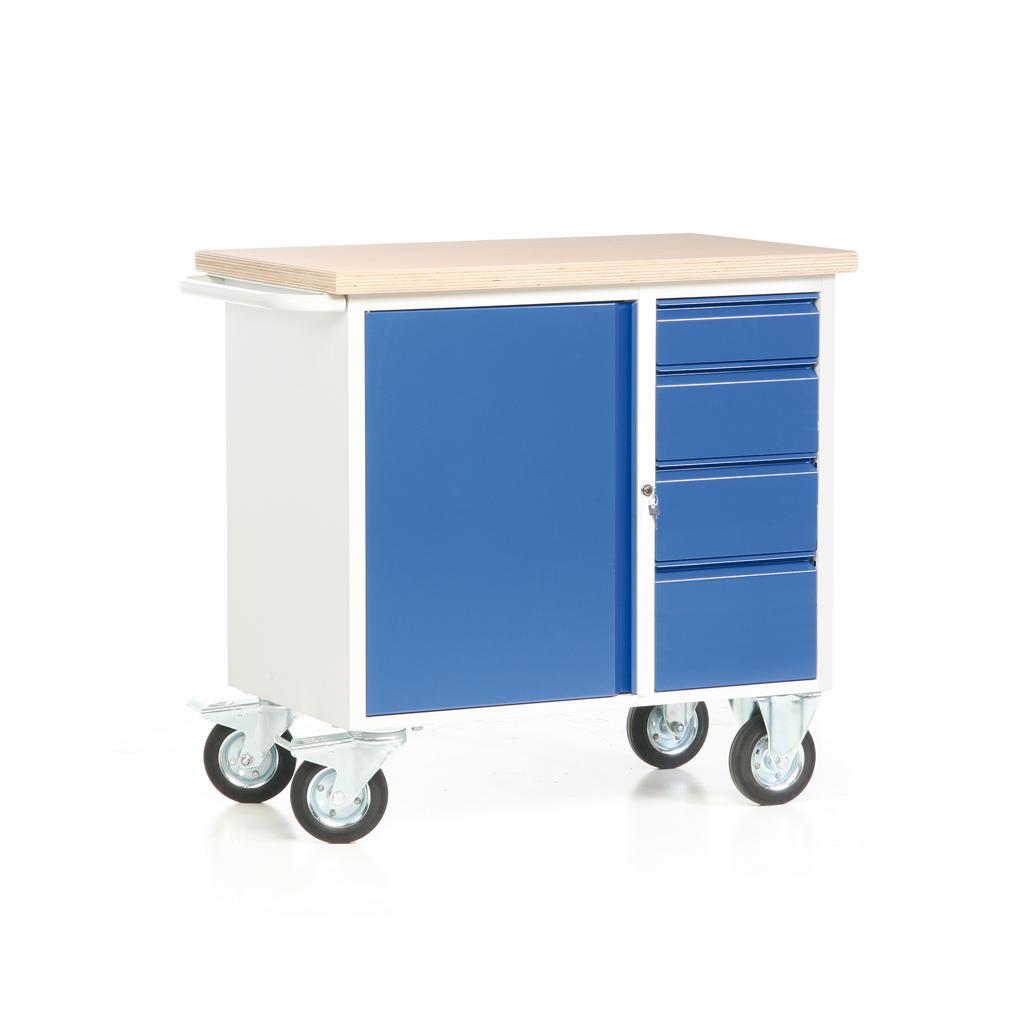 Fahrbare Werkbank - Arbeitsplatte - 1 Schrank - 4 Schubladen