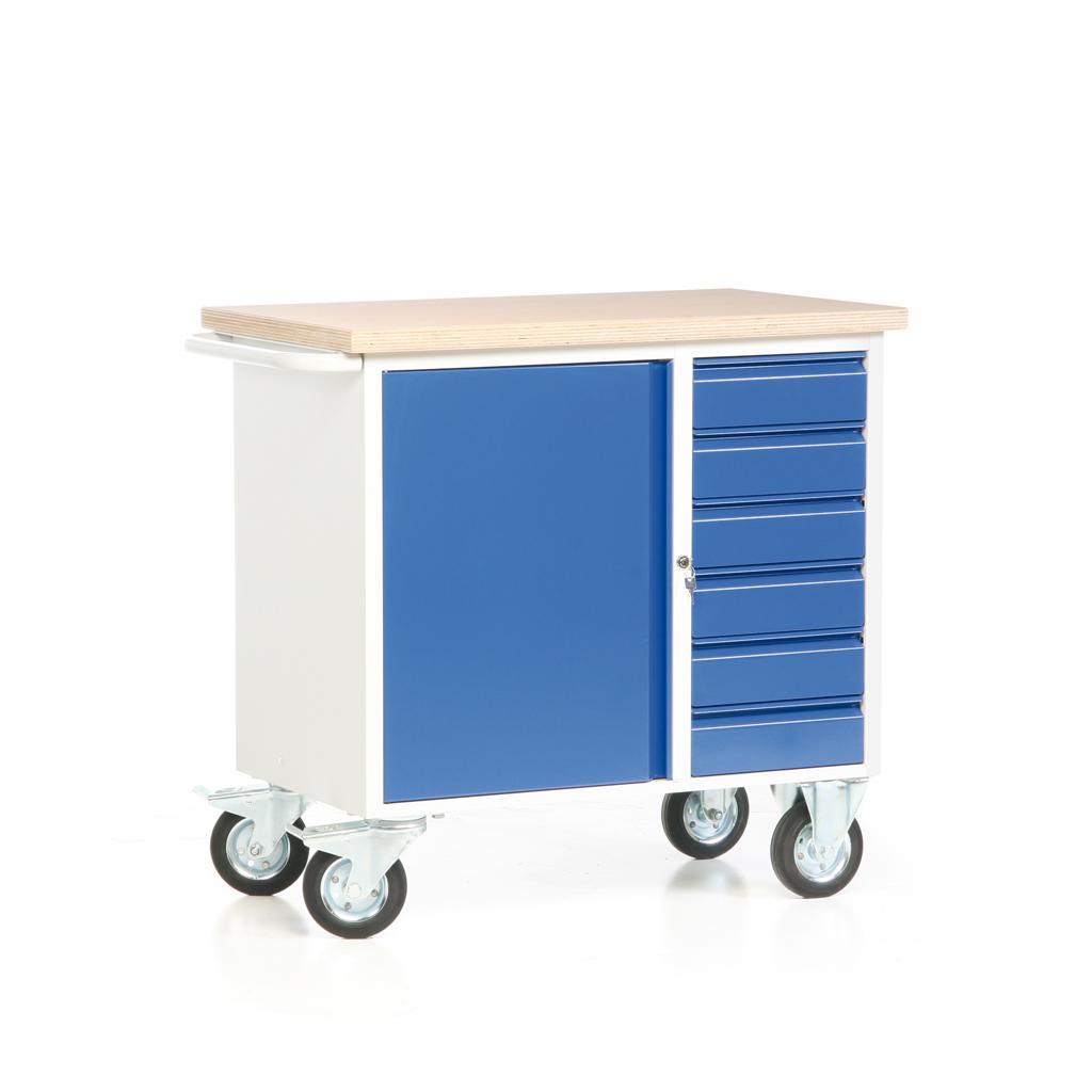 Fahrbare Werkbank - Arbeitsplatte - 1 Schrank - 6 Schubladen