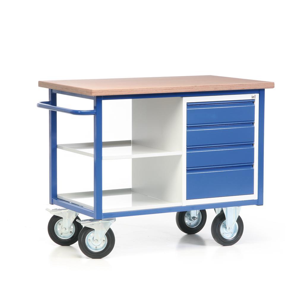 Fahrbarer Werkbankwagen - Arbeitsplatte - Schubladenschrank - 2 Ablagen