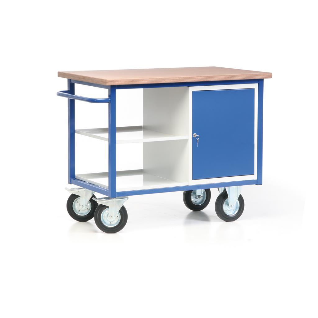 Fahrbarer Werkbankwagen - Arbeitsplatte - 1 Schrank - 2 Ablagen