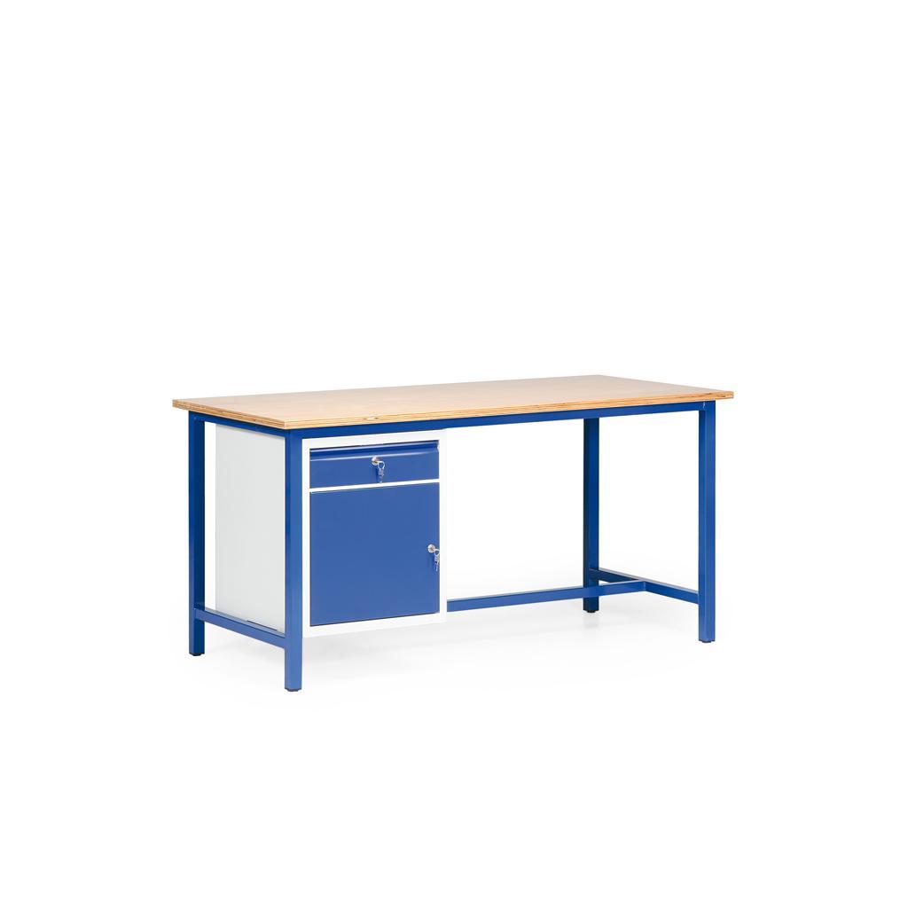 Arbeitstisch - Multiplexholz - geölt oder lackiert - L 1600 x T 700 mm - 1 Schrank mit Tür und Schublade