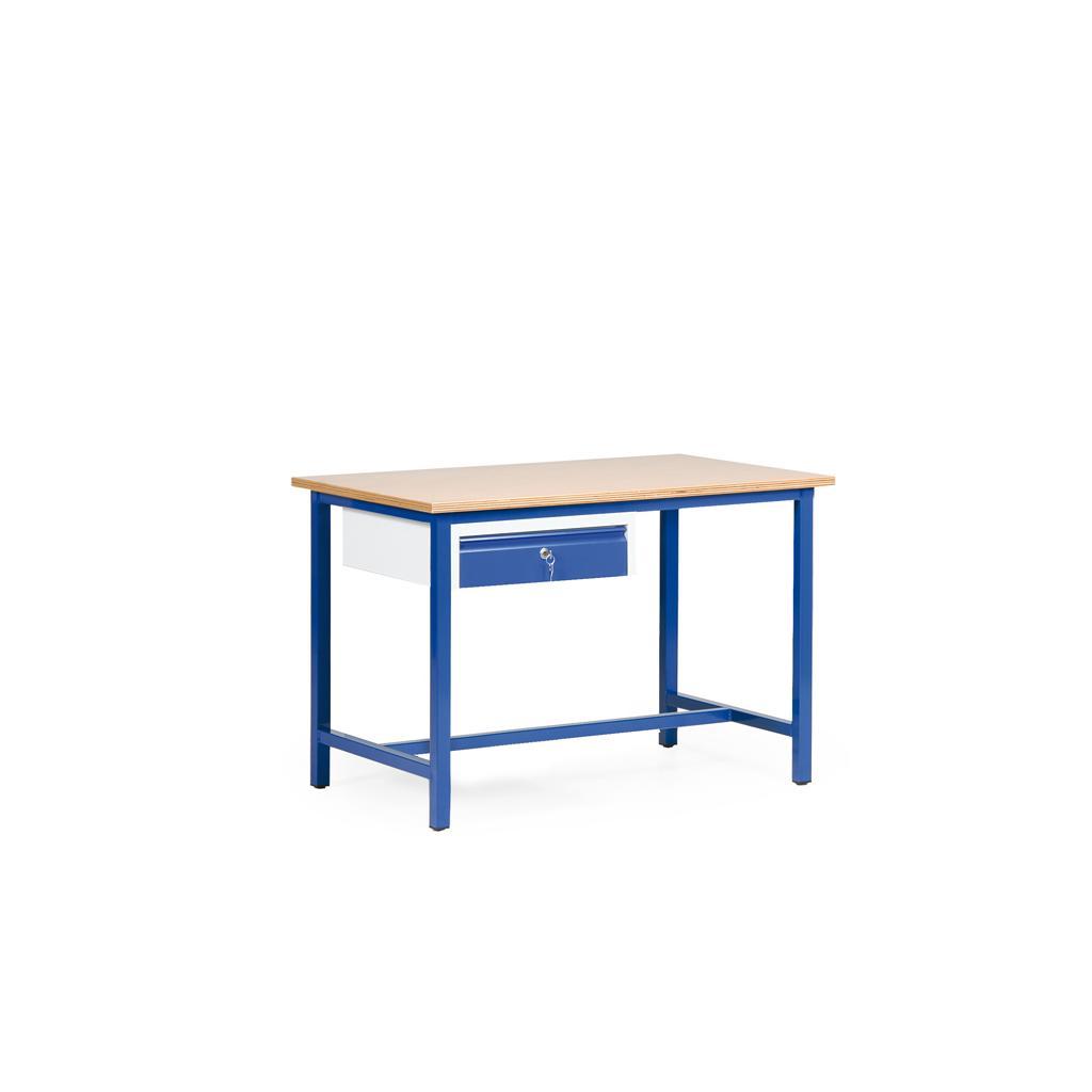 Arbeitstisch - Multiplex- oder Spanplatte - L 1200 x T 700 mm - eine Schublade