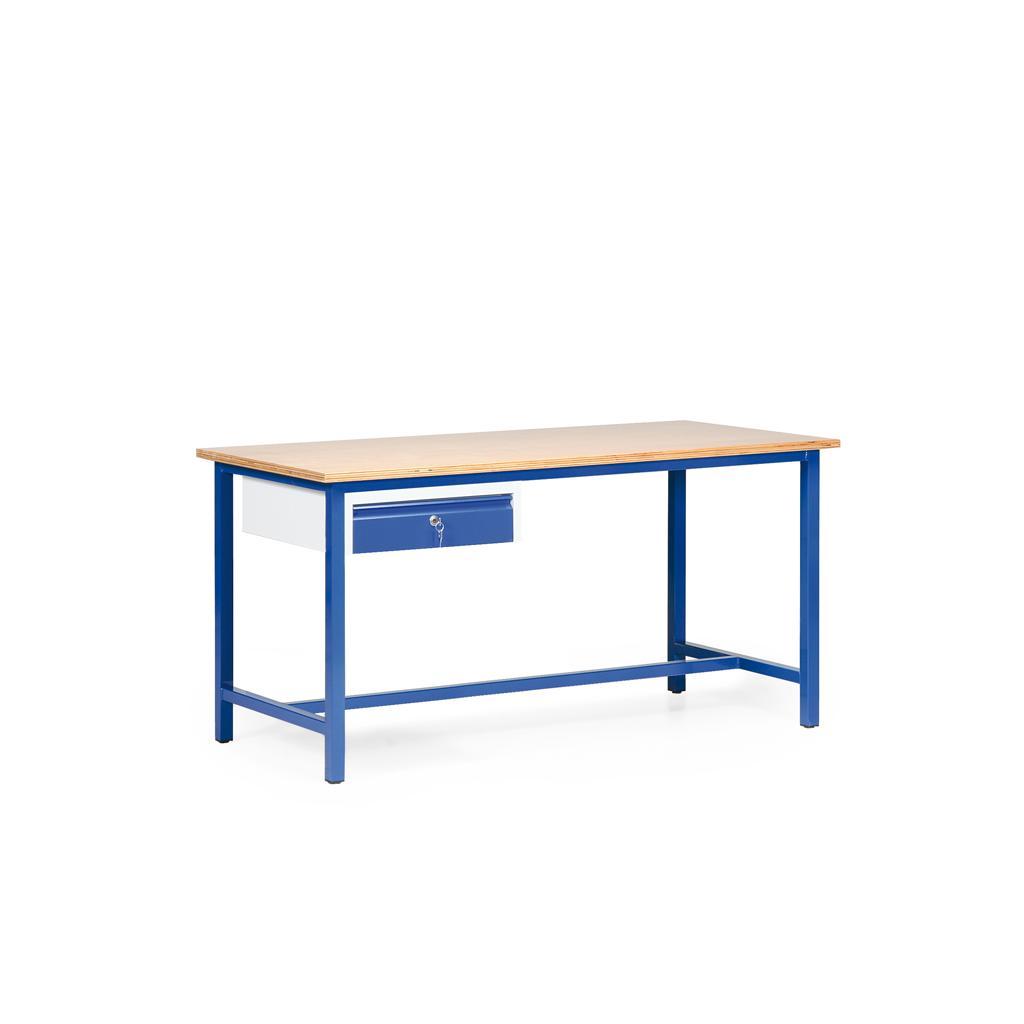 Arbeitstisch - Multiplex- oder Spanplatte - L 1600 x T 700 mm - eine Schublade