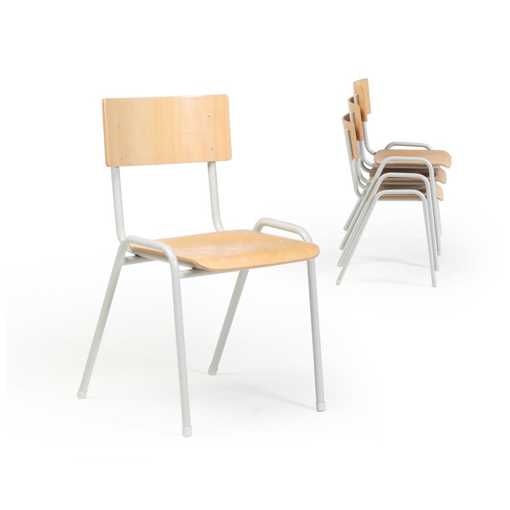 Stapelstuhl ECO - Sitz und Lehne Buchensperrholz - Gestell grau