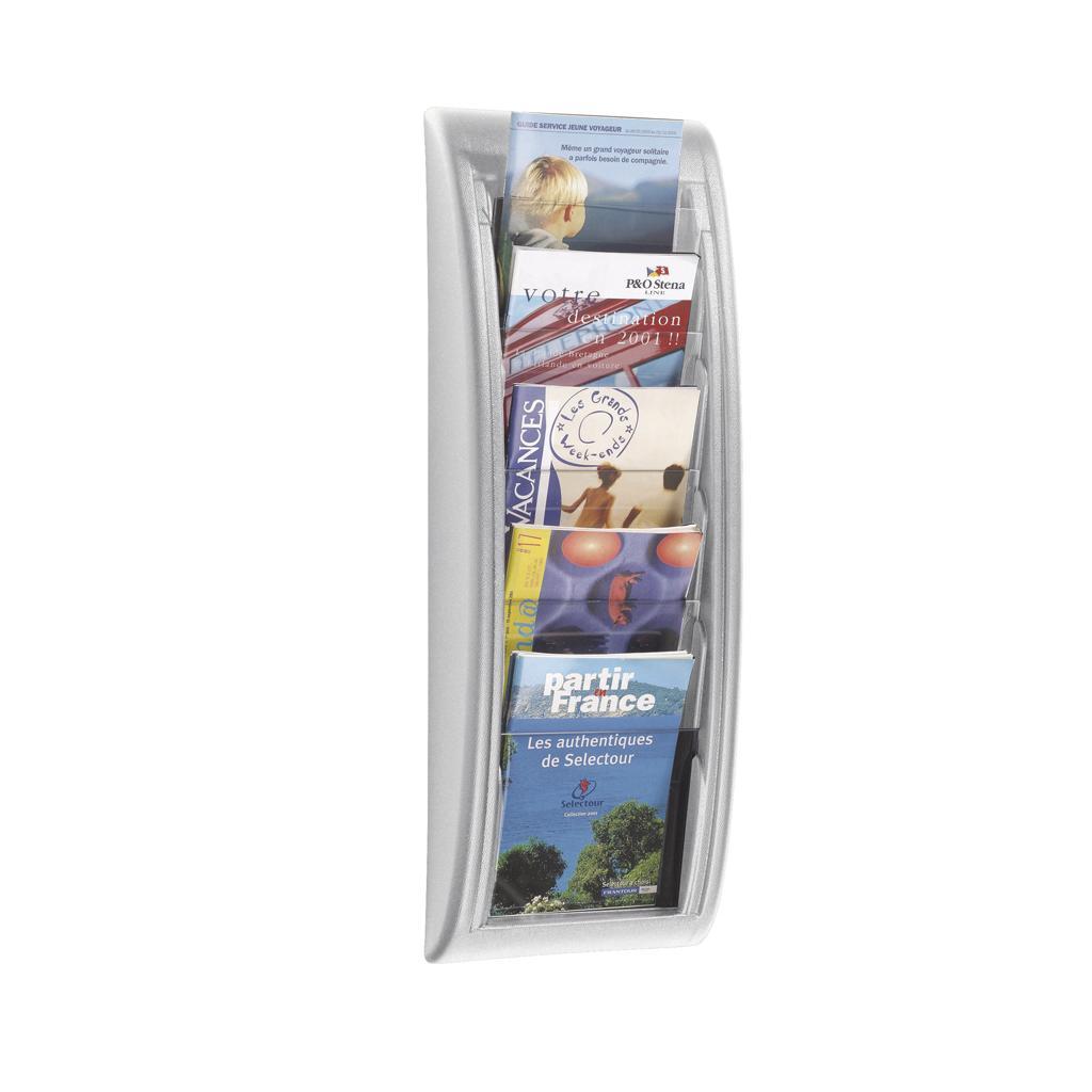 Wandhalter für Prospekte - DIN A5 - Alufarben