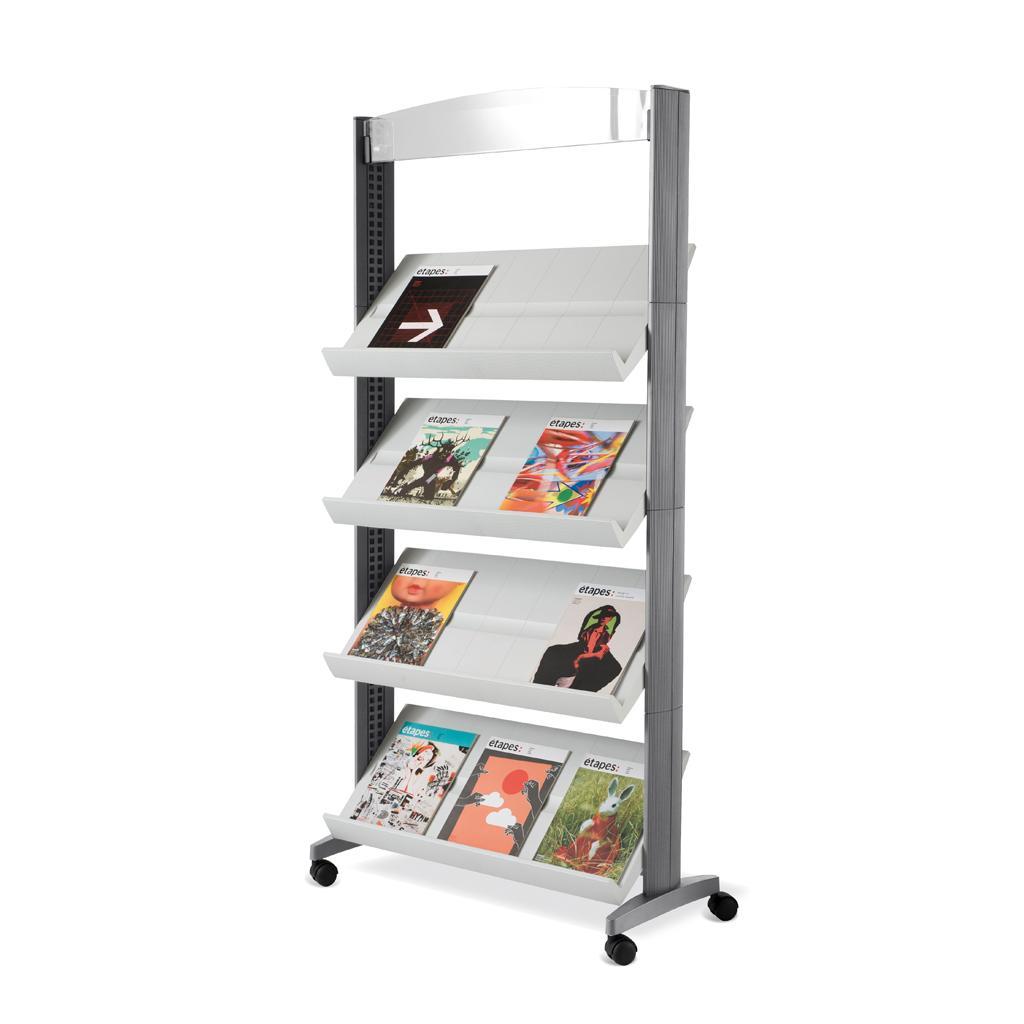 Mobiler Prospektständer - 4 Auflagen - Breite 830 mm - Schwarz/Grau