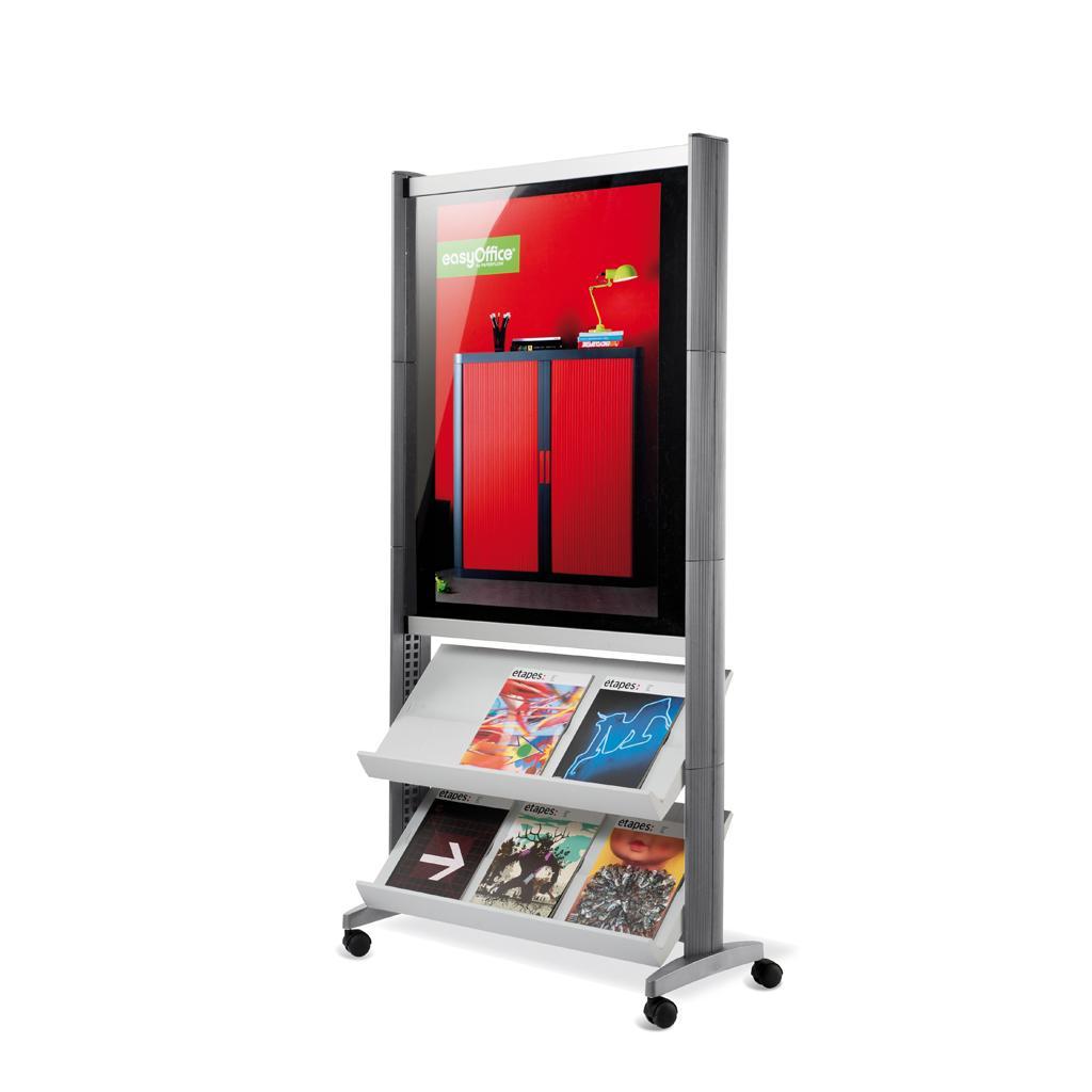 Mobiler Prospektständer - Plakatrahmen und 2 Auflagen - Alufarben/Alufarben