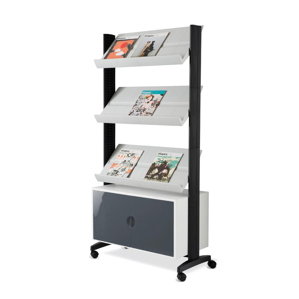Mobiler Prospektständer - Schrankfach und 3 Auflagen - Schwarz/Schwarz