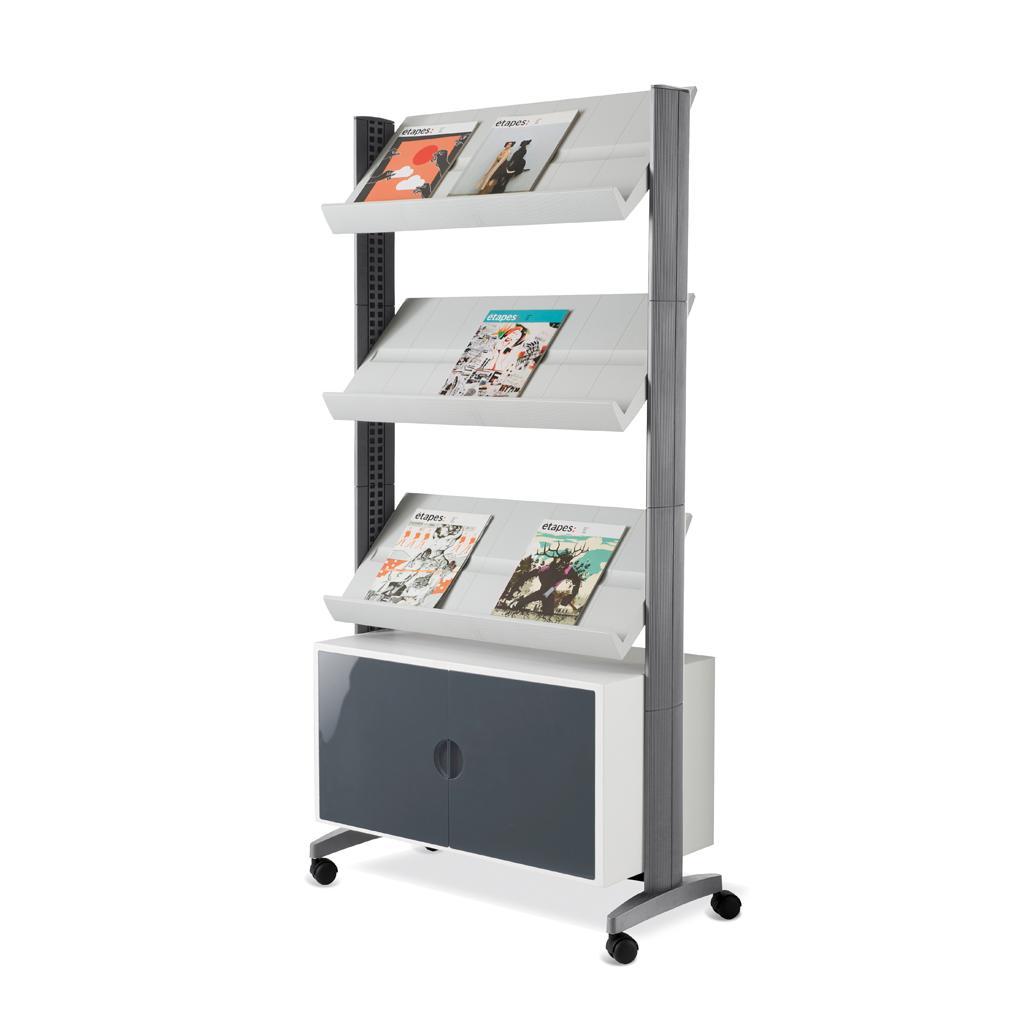 Mobiler Prospektständer - Schrankfach und 3 Auflagen - Alufarben/Alufarben