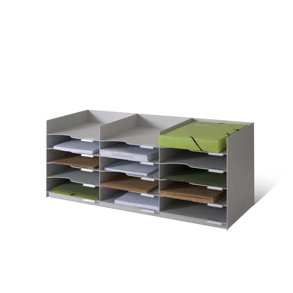 Formularbox - 3 × 5 Fächer - stapelbar - Grau
