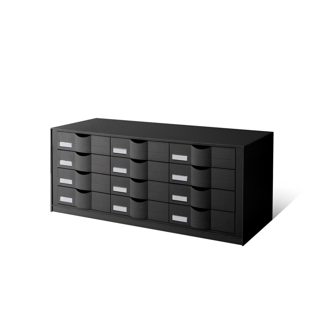Schubladenelement - 3 × 4 Schubladen - Schwarz