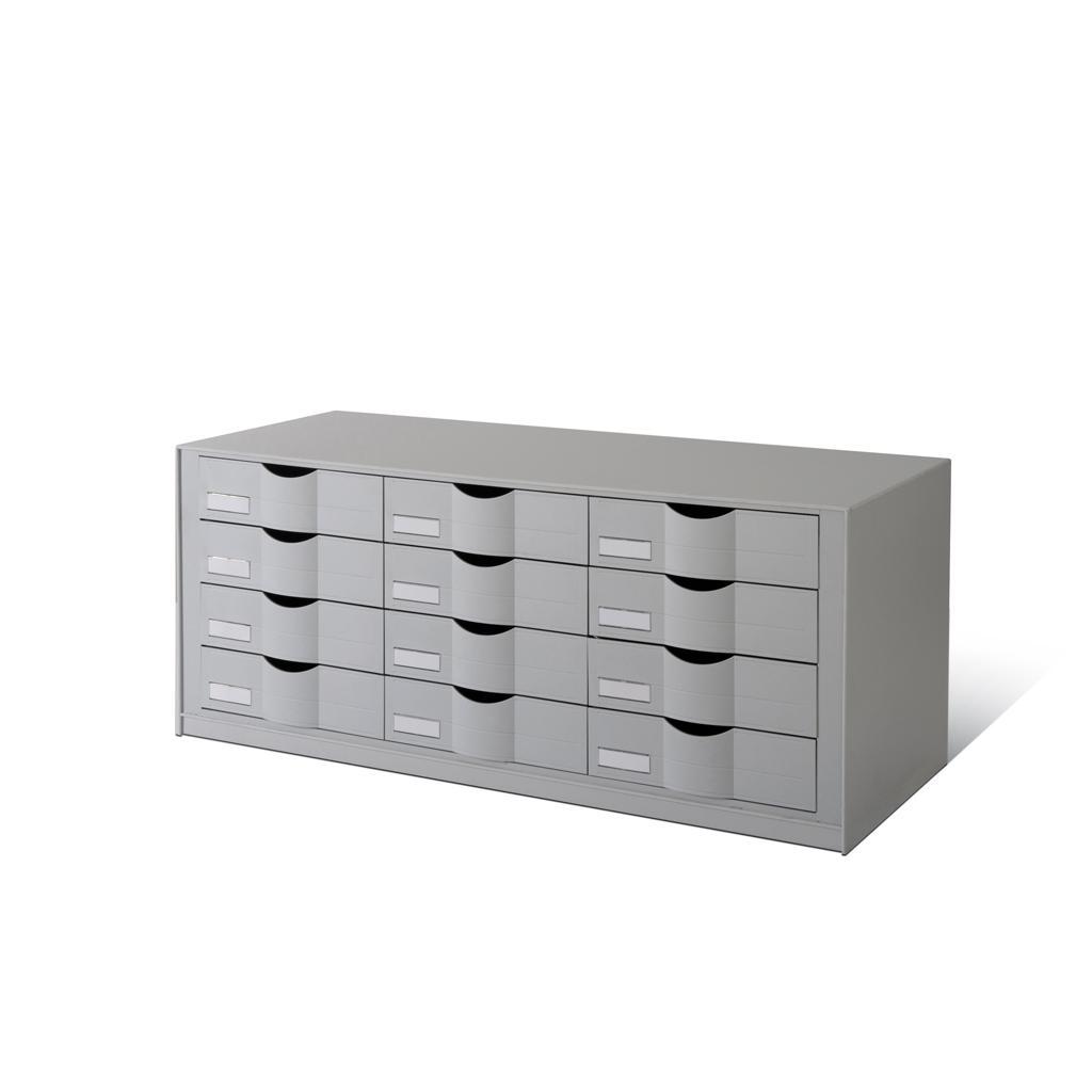 Schubladenelement - 3 × 4 Schubladen - Grau