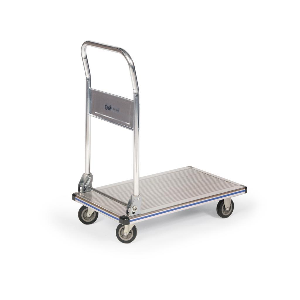 Aluminium-Plattformwagen mit klappbarem Rohrschiebebügel